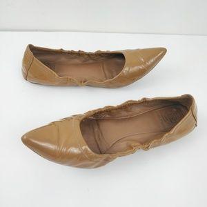 Tory Burch Tan Eddie Pointed Toe Ballet Flats 9